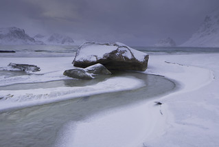 Fresh snow at Haukland Beach, Lofoten