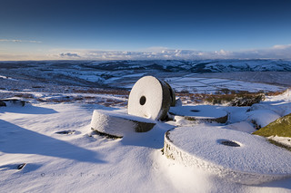 Millstones in the Snow, Derbyshire.