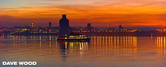 Red Sky over the River Mersey, viewed from Liverpool (Dave Wood Liverpool Images) Tags: liverpool redsky rivermersey