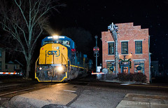 Late Night Con (Wheelnrail) Tags: csx csxt emd sd60i conrail locomotive ohio tipp city cpl signal bo toledo subdivision railroad rail road rails train trains q downtown rural small town night flash photography