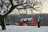 Red Barn Under the Escarpment. (otterman51) Tags: canada grimsby niagararegion ontario ortbaldauf tree barn clouds cold colours escarpment evening field frozen fruit ice nature niagara niagaraescarpment orchard ortbaldaufcom outdoors photography red sky snow sunset trees