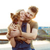 Laughing young couple with small dog in sunset light (somisetty.sathyanarayana) Tags: beautiful boyfriend caucasian city couple date dating dog embrace embracing emotions family friends fun girl happiness happy kiss laughing lifestyle love lovers man new people relationship romance romantic small sun sunset sunshine together two woman young russianfederation