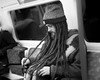 Taking the measure (JoshyWindsor) Tags: londonunderground dreadlocks blackandwhite people person city fujifilmxt10 beanie hairstyle man urban london fujinonxf35mmf14 streetphotography tube longhair unitedkingdomkingdom transportation portrait