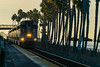 Next Stop, San Clemente (tquist24) Tags: california nikon nikond5300 sanclemente beach commutertrain geotagged goldenhour lights morning palmtree palmtrees railroad sky unitedstates