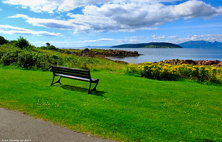 Scotland West Highlands Argyll a seat with a view island of Cumbrae 9 August 2017 by Anne MacKay