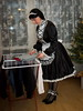 New Year's Eve preparations (blackietv) Tags: maid dress gown black white satin petticoat lace apron tgirl transvestite crossdresser crossdressing transgender