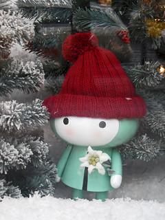 Weihnachts-Wichtel mit Edelweiß