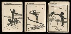 Jahresquartett Januar (altpapiersammler) Tags: quartet spiel toy spielkarten zeichnung drawing draw kindheit childhood alt old vintage fantasie fantasy märchen fairy tale fairytale myth monat month natur nature
