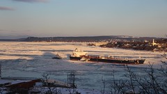 St-Laurent (Laure_Bardou) Tags: laurent fleuve quebec québec canada boat light winter frozen stlaurent quiet sunset