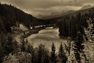 I hear the train a comin'...It's rolling round the bend (Black & White, Banff National Park)
