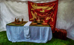 Waiting For Richard The Lionheart (Steve Taylor (Photography)) Tags: flag richardthelionheart threelions medieval table cloth mead art digital brown bronze green gold red white grey uk gb england greatbritain unitedkingdom london grass texture elthampalace plate cup flaggon wine chest tent bottle
