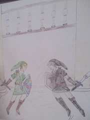 A picture I drew for my brother a year ago (jasakhan10) Tags: the legend zelda fighting swords link