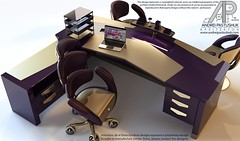 CEO Desk Purple-Gold (andrei.pastushuk) Tags: office chair desk ceo executive managers table highend luxury vip reception interior design architecture symmetrical stylish purple gold maroon burgundy brown magenta chrome enchanting magic magical mystical enigmatic arcane andreipastushuk apdesign art deco artdeco decor contemporary modern cool shiny leather