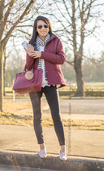 gray and white striped scarf, red quilted jacket, purple red tote with fur pom keychain, white sweater with lace hem, black jeans, light pink loafers (brightenday) Tags: outfit coldweather jacket color stripes pattern scarf fur sweater lace pants flats