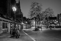 City Lights (McQuaide Photography) Tags: haarlem noordholland northholland netherlands nederland holland dutch europe sony a7rii ilce7rm2 alpha mirrorless 1635mm sonyzeiss zeiss variotessar fullframe mcquaidephotography lightroom adobe photoshop tripod manfrotto stad city urban lowlight architecture outdoor outside illuminated street straat oudegroenmarkt wideangle wideanglelens groothoek building longexposure oldstreet old oud character traditional authentic atmosphere sfeer light licht nightphotography night bike bicycle fiets streetlight lantaarnpaal lamppost blackandwhite bw mono monochrome tree festive christmas kerst