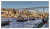 Desembocadura del río Duero en Oporto y puente de Luis I // Mouth of the Douro River in Porto and Luis I Bridge (José María Gómez de Salazar) Tags: oporto puente puentedeluisi río duero ríoduero portugal desembocadura agua barcas barca bridgeofluisi river riverduero mouth water boats boat