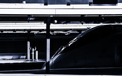 Acela in Shadow (PAJ880) Tags: acela power car amtrak south station boston ma train transport contrasts bw mono late pm light