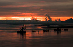 Mersey Sunrise VII (Rob Pitt) Tags: early morning mersey ferry sunrise eastham river wirral stanlow smoke chimney outdoor 750d sky sunset landscape shore seaside cloud sea ocean water