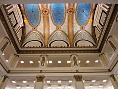 (AmyEAnderson) Tags: chicago illinois downtown indoor upward view macys marshall field store ceiling architecture tile mosaic design colorful blue gold lighting fixtures floors levels etages pillars symmetrical round linear lines angles juxtaposition