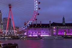 Candy Wheel (JH Images.co.uk) Tags: london londoneye ferris wheel night twilight bluehour christmas riverthames river hdr dri boat boats