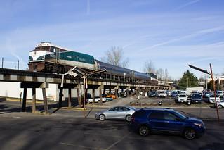 Marion County Metroliner (aka Cascades Train #513) Passing Through Oregon City