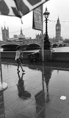 Summer rain (dolldudemeow24) Tags: london big ben palace westminster st stephens tower clock elizabeth east thames river rain summer umberella lady woman black and white dress bridge reflection shadows 2017 2018 england great brittain uk