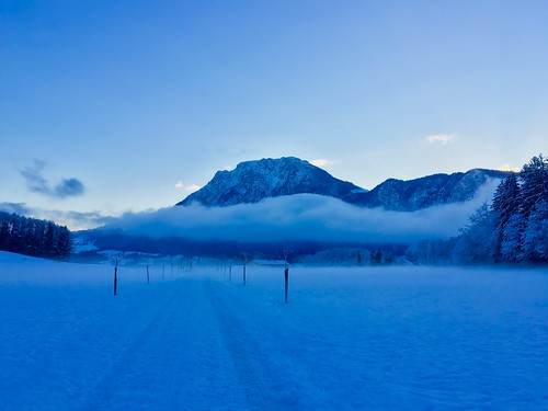 Cold winter morning in the Alps near Kiefersfelden, Bavaria, Germany