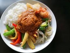 Lunch: Gado Gado (Food Trails) Tags: sataysauce gadogado vegetables rice prawns scallops beancurd seafood corn bellpepper sweetpeas cucumber