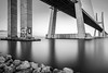 Bridge Tattoo mono (frank_w_aus_l) Tags: vascodagama monochrome bridge tattoo graffiti longexposure reflection nikon d800 lisbon bw sw blackandwhite noiretblanc coast concrete sacavém lisboa portugal pt