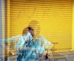 Merced, Santiago de Chile. Esta señora se molestó cuando le empecé a sacar las fotos, el trípode me delató, pero se veía tan bella la combinación del color de su polera y el amarillo de fondo. jaja (valentina pezoa) Tags: analog analogue canon kodak 35mmanalog disparaenrollo filmisnotdead filmphotography 35mmphotography 35mm dobleexposicion doubleexposure plazadearmas