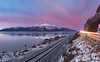 Opposite of sunrise (Traylor Photography) Tags: alaska wideangle camper landscape winter iceflow mountains rv panorama lightsource clouds lighttrails indian december sunrise sewardhighway anchorage reflection railroad unitedstates us