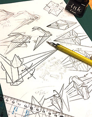 Now I am inking new diagram of something. (Matayado-titi) Tags: diagram sugamata spaceship starship starwars starfighter shusugamata origami fighter uwing