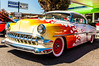 Flaming Chevy (chuck_raup) Tags: closeup car carshow vehicle transportation yellow red reflection reflections auto custom hotrod hot chevy tamron tamron1750 northwest naturallight nikon nikond90 people window outdoors outdoor outside white