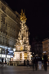 Nocturnal Graben - Vienna (MikeTheExplorer) Tags: column memorial monument baroque architecture long exposure longexposure night nightphotography street streets streetview streetphotography people exploring exploration explore urban city urbanexploration light bright house houses graben contrast colour colourful colours view perspective angle composition travel traveling traveler travelling traveller wanderlust innerestadt district bezirk building buildings vienna wien austria österreich europe europa