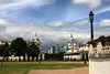 Storm Clouds on the Financial Horizon? (innpictime ζ♠♠ρﭐḉ†ﭐᶬ₹ Ȝ͏۞°ʖ) Tags: sky architecture buildings park colonnade london skyline clouds lampstandard lamp towercrane canarywharf greenwich se10 christopherwren skyscraper oldroyalnavalcollege lamppost grass domes weathervanes 514810810004169 balustrade