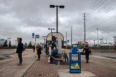 People at the station (Stefen Acepcion) Tags: transit oakville bus people transportation canada new blue vanishingpoint canon 80d street