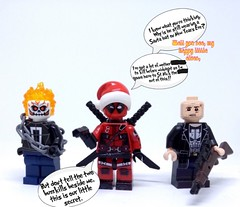 Tieing up the old year (Read Description) (Barratosh#2) Tags: marvel mcu xmen origins wolverine deadpool ghost rider punisher cable ajax tray lego minifigure disney fox lobo movie fourth wall crazy