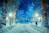 Zrinjevac (dokson_) Tags: croatia zagreb zrinjevac cityscape nightscape winter snow square christmas advent lights landscape blending travel europe pentax old pentaxk10d pavilion tree park