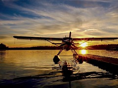 Air Harbor Sunset (otterdrivernw) Tags: xf18135 xt2 xseries fujixt2 fuji golden clouds sky water reflections lakes floatplane seaplane sunsets