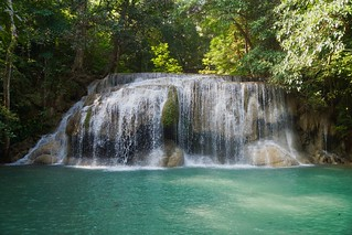 Level 2 of the Erawan Waterfalls in Kanchanaburi, Thailand
