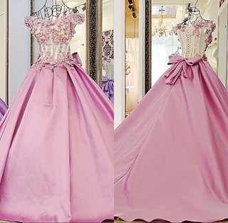 Pink Puffy Prom Dresses With Bows