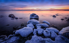 Ice Caps #02 (tinamar789) Tags: winter icy rocks frost frozen freezing cold clouds sea seashore seascape sunset snow sky seaside ice horizon blue hour landscape lauttasaari helsinki finland