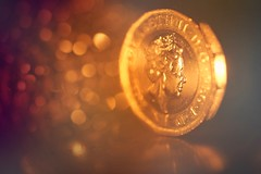 Candle Lit Coin (orbed) Tags: candle candlelit macromonday coin pound heads queen golden candlelight gold bokeh december litbycandlelight