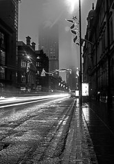 disappearing Beetham Tower and traffic trails monochrome (PDKImages) Tags: manchester mcr lovemanchester city urban misty fog longexposure light trails reflections