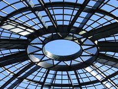 Gazing up at sky through steel. (vickilw) Tags: geometric architecture rotunda lines steel sky blue disneyland 6ws 7daysofshooting week27 banginthemiddle geometrysunday