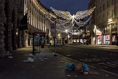 The Morning After the Night Before (realjv) Tags: 2017 christmas christmasday christmaslights city deserted earlymorning empty emptylondon litter london mess regentsstreet street trash england unitedkingdom gb