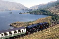 LMS 5305 returns from Mallaig at West Loch Eilt. May'87. (David Christie 14) Tags: westlocheilt black5