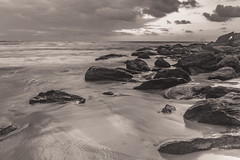 Dawn Seascape in Black and White (Merrillie) Tags: daybreak shoreline sand landscape nature australia water surf blackandwhite rocks killcarebeach newsouthwales waves centralcoast nsw clouds beach ocean monochrome coastal dawn photography sea sky seascape waterscape coast killcare outdoors