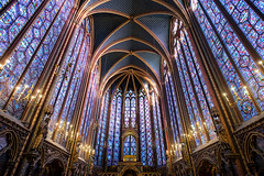 The High Chapel (Janet Marshall LRPS) Tags: hautechapelle highchapel httpsenwikipediaorgwikisaintechapelle iledelacite saintechapelle paris stainedglass arches vaultedceiling candlelight chandeliers symmetry