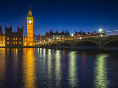 The Lights of Westminster (RobertCross1 (off and on)) Tags: 20mmf17panasonic bigben britain em5 england europe housesofparliament london longexposure omd olympus parliament thames uk unitedkingdom westminster architecture bluehour bluesky bridge buildings bus cars city cityscape clock dusk landscape lighttrails night reflections river taxi tower twilight urban water